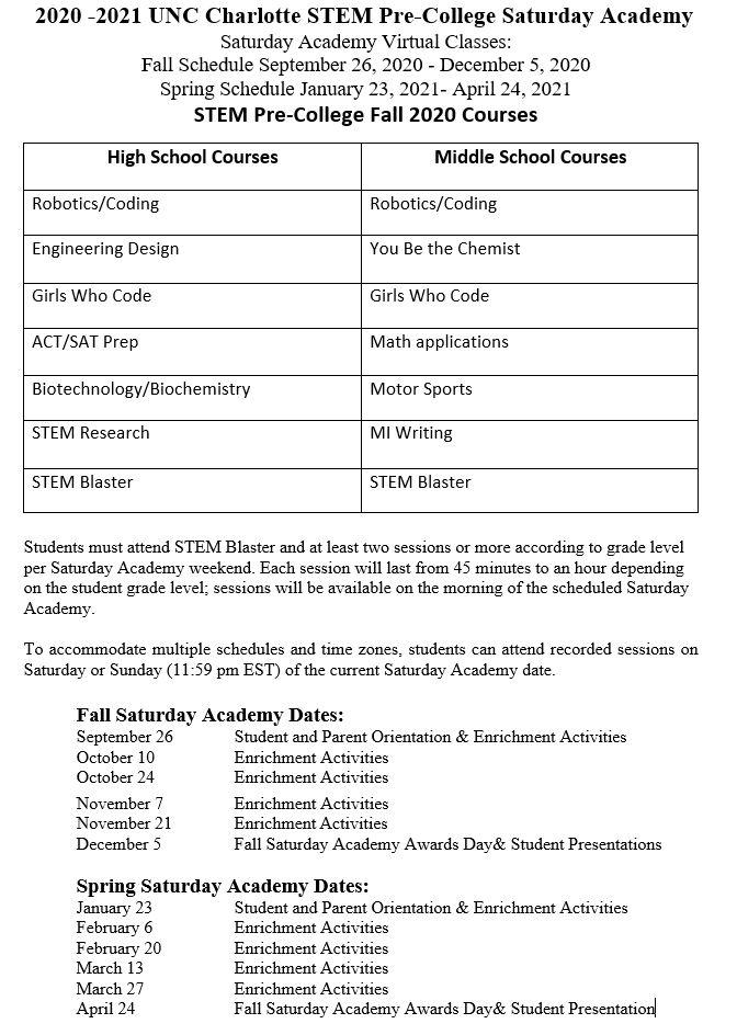 UNC Charlotte Pre College STEM Program Calendar of Events | Center